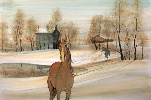 The Matriarch limited edition print by P Buckley Moss features a carmel colored horse in the foreground with a pale aqua sky and earth colors throughout the trees and landscape.