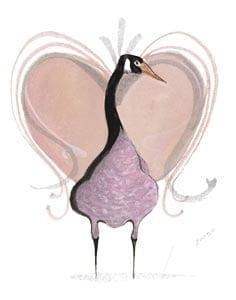 Moss Valentine Holiday Goose is limited edition print from a series of 5 prints by P Buckley Moss. Single goose standing in front of a frilly Moss heart in shades of muted lavender.