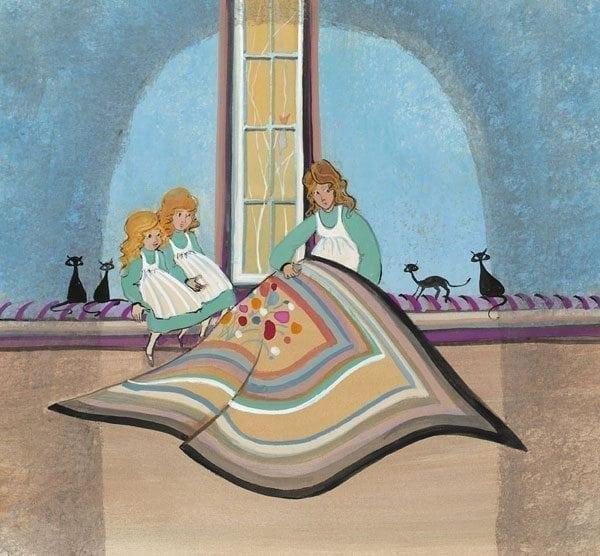 Mother's Little Helpers limited edition print by P Buckley Moss features mother and two daughters quilting. Colors in turquoise, tans, aqua browns and black.