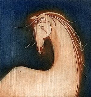 Narcisus limited edition etching by P Buckley Moss features a modern image of a horse in shades of rust and cream placed against a background of brightened navy blue.