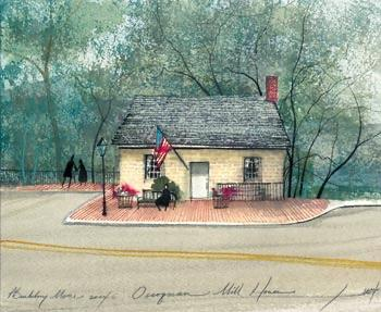 Occoquan Mill House limited edition print by P Buckley Moss features the Occoquan Mill House show the Mill House Museum in Occoquan, Virginia.Soft colors of cream, green and earth tones with a touch of red.