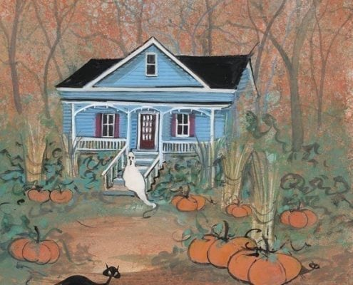October at the Stetson House by P Buckley Moss is a print of the home of the sister of John Stetson owner of Stetson Hat Company