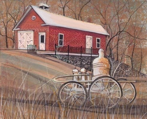"""First firehouse in Waynesville, Ohio, built in the early 1800's, with """"Old Faithful"""", the first pumper engine purchased for the town."""