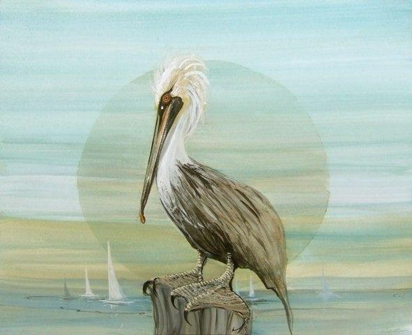 On the Doc of the Bay giclee limited edition print on canvas by P Buckley Moss features a pelican roosting by the water with sail boats in the distance. Soft colors of Aqua, green, moss, blue and gray highlight this piece.