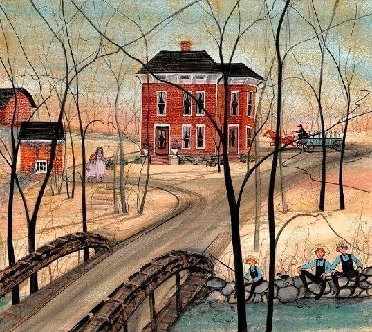 Our Farm Old Town Run is a signed and number limited edition print by P Buckley Moss of an historic farm in Xenia Ohio
