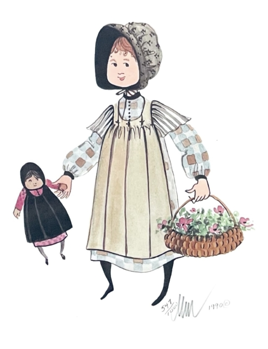 tammy-limited-edition-print-art-p-buckley-moss-girl-basket-flowers-earth-tones-blue