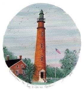 Ponce de Leon Inlet Lighthouse central Florida, 175-foot historic structure. Completed in 1887 as a warning device in and area dreaded by mariners. Art print by P Buckley Moss in colors of orange and rust, soft green, blues and peach for the skyline.