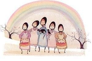 Rainbow Girls Signed and numbered, limited edition art print by American artist P Buckley Moss features five young girls together with different color dresses, a rainbow behind them with baskets of apples and one black cat.