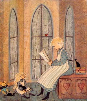 A Reading Nook limited edition print by P Buckley Moss features a teacher or mother reading to a child with toys there but forgotten while stories are being read.