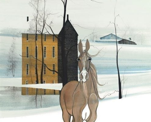 Reflections of the Soul limited edition print by P Buckley Moss features a camel and tan colored horse with a background of aqua and white. Rust and brown shades in the three story house.