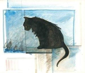 Realistic black cat print by P Buckley Moss, artist.