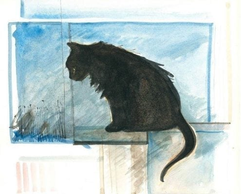Realistic black cat print by P Buckley Moss, artist.
