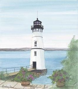 Rock Island Light limited edition print by P Buckley Moss features the lighthouse in white, gray and black with cool blue waters and greenery in the foregrounc.