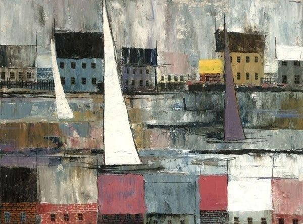 Saturday Sail limited edition print by P Buckley Moss features an array of colors for a pleasing peaceful waterfront scene. Colors of gray, blue, tan, yellow, red rust and white.