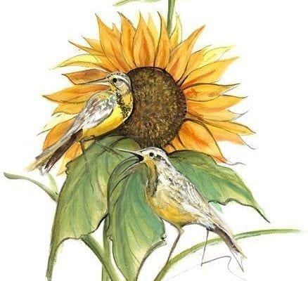 Song of the Sunflower limited edition artist proof wall art print by P Buckley Moss highlights shades of green, yellows and tangerine tones with a little white, gray, rust and browns.