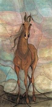 Spirit of Freedom is a limited edition print by P Buckley Moss with colorful pastel background of turquoise, lemon yellows and corals. Stately horse ih shades of tans and browns.