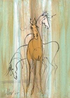 Spirits limited edition print by P Buckley Moss features one forward facing horse and two additional horses in the background; a thought or a memory. Colors of soft green, blue, tans and cream make up the background while the main horse is light rust. Charcoal outline of the second horse and the third is cream and a hint of white.