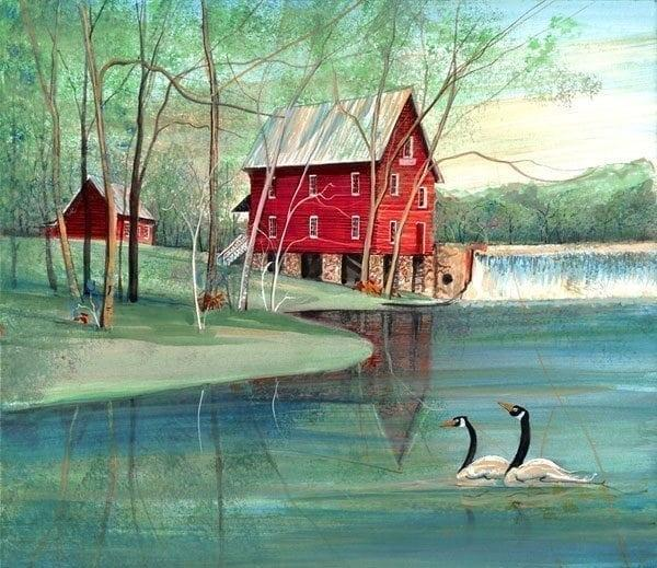 Starr's Mill limited edition print by P Buckley Moss features the mill in bold colors of greens and reds with an aqua and white sky.