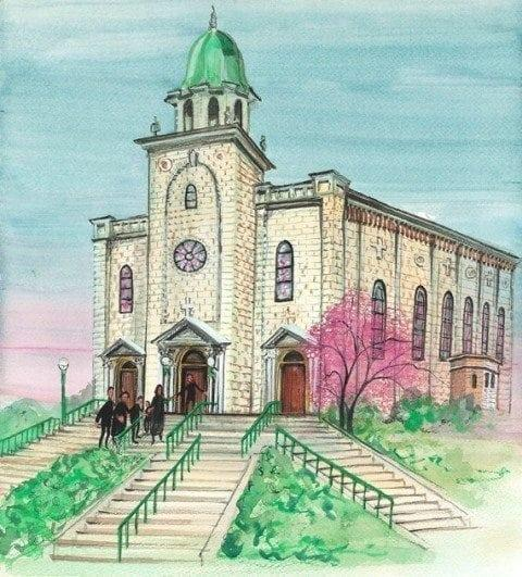 St Bernard Church in Springfield Ohio painted by P Buckley Moss in 2010. Prints available at Canada Goose Gallery.