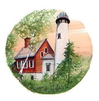 St Helena Lighthouse limited edition print by P Buckley Moss feature a peach colored sky background with a red brick and white lighthouse. Greenery in the foreground.