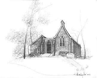 St Mary's church in Waynesville Ohio has been captured in this pencil sketch by P Buckley moss