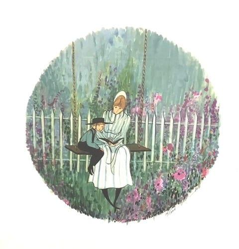 Summer Story limited edition print P Buckley Moss features mother and child reading a book while seated on a garden swing.