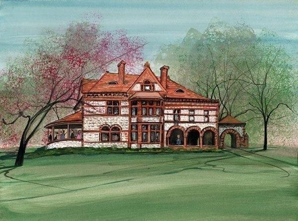 Summer at the Mansion by P Buckley Moss features the Richard, Raff & Dunbar Funeral Home in Springfield, Ohio