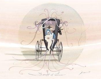 Sunset of Love limited edition print by P Buckley Moss features a wedding couple in a buggy. Soft colors of peach.