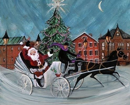 The Tree Lighting Signed and numbered, limited edition art print by American artist P Buckley Moss at Canada Goose Gallery in Waynesville, Ohio.-Christmas