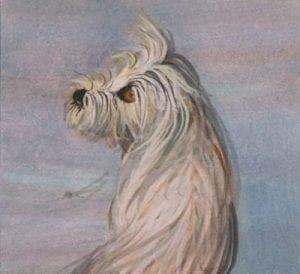 Trusting Love is a limited edition print by P Buckley Moss featuring a small dog looking with longing eyes for attention.