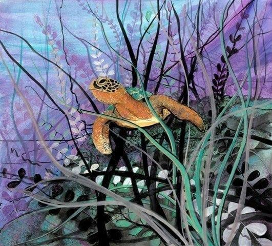 Under the Sea limited edition print by P Buckley Moss features the under water adventures of the sea turtle. Radiant colors of greens, light and darker purple, rusts, tans and black.