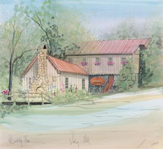 Valley Mill limited edition print by P Buckley Moss features the mill near Steeles Tavern in Virginia. Soft colors of blue, green and rose.