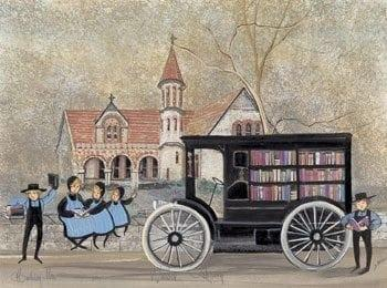 Warder Library is the subject of this artwork. Historic building in downtown Springfield Ohio