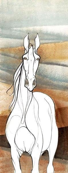 White Majesty limited edition print by P Buckley Moss features a pure white horse standing against a background of rust, cream and various shades from light to darker teal tones.