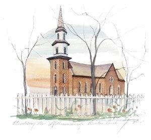 Williamsburg, Bruton Parish is a limited edition print by P Buckley Moss. Light rust colored church with greenery and Spring colored flowers around a white picket fence. Faint colors of blue, yellow, peach and rust in the background.