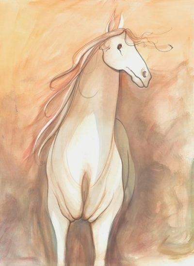 Will O' Wisp limited edition print by P Buckley Moss features a White horse with shades of cream through the body with a peach colored background with additional earth tones added.