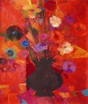 Limited edition print on canvas by P Buckley Moss. Rich red background with black pot of different colored flowers