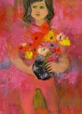 Small girl child limited edition giclee print on canvas. Girl holding a pot of colorful flowers in a dark pot with lots of reds in the background.