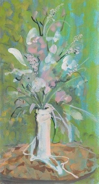 Flowers From My Heart by P Buckley Moss features a white vase with a spray of flowers. Green background makes the arrangement of flowers pop.