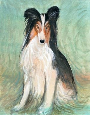 Friend For Life Limited edition print by P Buckley Moss features a life like dog in shades of white, black brown and rust against a background of greens, tans and a splash of aqua.