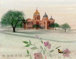 Iowa You Make Me Smile is a commemorative art print released by artist P Buckley Moss for the state of Iowa. State Capitol building, state bird, state tree and state flower. Colors are rusts, cream, shades of green and a beautiful touch of mauve.