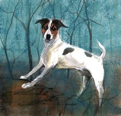 Jack Russel limited edition print by P Buckley Moss features a Jack Russel in white with black and brown on a background of aqua, earth tones and black trees.