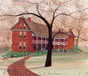 Civil War Mansion by P Buckley Moss features Oliver Anderson House which was built in 1853 by successful hemp and cotton manufacturer Oliver Anderson of Nicholasville, Kentucky. Colors of burgundy, greens, rust, peach, cream, black and grays.