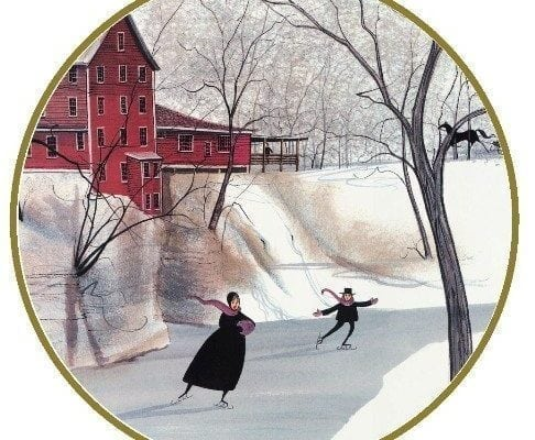 Clifton Mill ornament by P Buckley Moss features the historic Mill in Clifton Ohio
