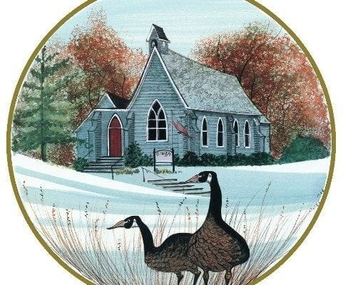 Little Blue Church depicts St. Mary's Episcopal church in Waynesville, Ohio. Built in 1869, it is still holding services today. Beautiful hillside setting with geese.
