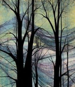 Mountains in Spring limited edition by P Buckley Moss features the beauty of the the earth and shared through her art. Colors of aqua, green, lavender with a splash of pink. Black iconic trees fill the foreground.