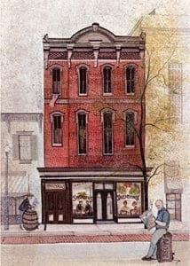 Ice Cream Parlor rare limited edition print by P Buckley Moss features and old main street type building from early years when Ice cream parlors were a treat for the entire family outing. Red Brick building with people milling around and having a leisurely day about town.