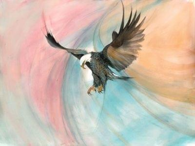 Our Strength and Beauty limited edition print by P Buckley Moss features an eagle in full wing span soaring before a multicolored sky in pinks, coral, blue and green.