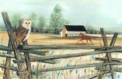 Art-Artist-PBuckleyMoss-CanadaGooseGallery-WaynesvilleOhio-LimitedEdition-Print-HomeDecor-Decorating-owl-Barn-Horse-Landscape-Farm