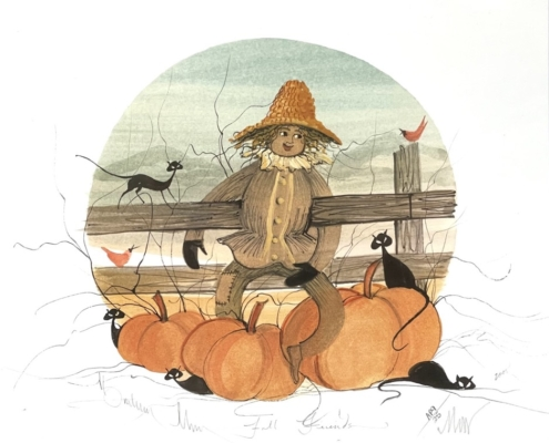 Fall Friends limited edition print by P Buckley Moss features a scarecrow with Pumpkins